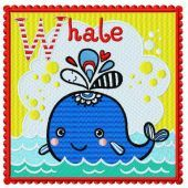 Whale embroidery design 2