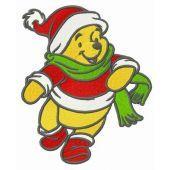 Winnie Pooh runs to friends embroidery design