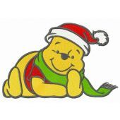 Winnie Pooh waiting for Xmas embroidery design