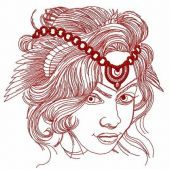 Woman with original head decoration embroidery design