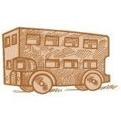 Wooden bus machine embroidery design