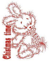 Adorable bunny Christmas time embroidery design