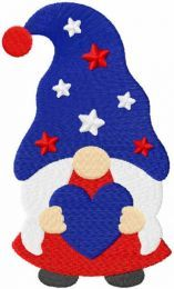 American gnome girl with heart embroidery design