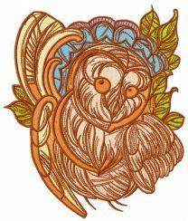 Amusing owl embroidery design