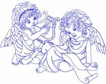 Angels machine embroidery design