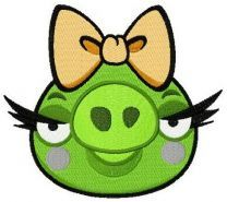 Angry Birds pig machine embroidery design