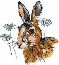Autumn bunny sketch embroidery design