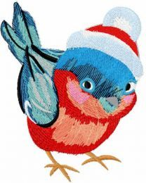 Baby bullfinch embroidery design