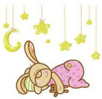 Baby bunny sweet dreams machine embroidery design