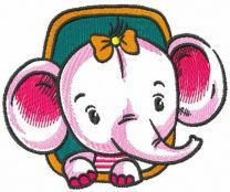 Baby elephant in window embroidery design