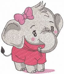 Baby girl elephant embroidery design
