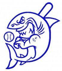 Baseball shark machine embroidery design 3