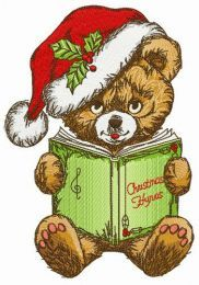 Bear sings Xmas hymns embroidery design