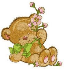 Bear with pink flower