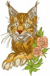 Beautiful lynx with rose