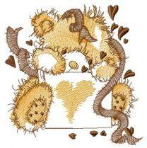 Beige teddy bear with confetti