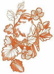Bird hiding in flowers