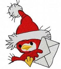 Bird with Christmas mail