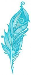 Blue feather embroidery design 2