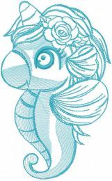 Blue seaunicorn embroidery design