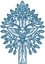 Blue tree and owl embroidery design