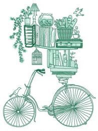 Book shelves and bike sketch