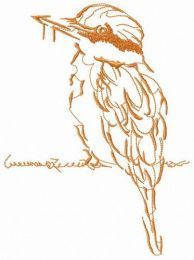 Brown shrike on wire embroidery design