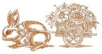 Bunny and cart with flowers 2