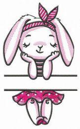 Bunny girl monogram embroidery design