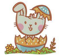 Bunny hiding in egg