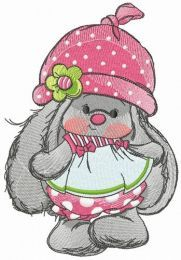 Bunny Mi with polka dot pants and hat