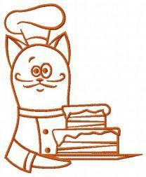 Cat chef embroidery design 3