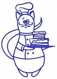 Cat chef embroidery design 6