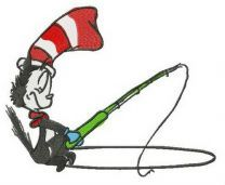 Cat in the Hat fishing embroidery design