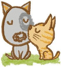 Kitten kissing puppy embroidery design