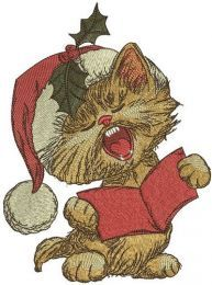Cat sings Christmas carols