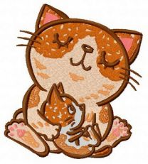 Cat's family embroidery design 2