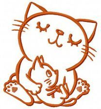 Cat's family machine embroidery design 3