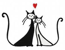 Cat's love embroidery design 4
