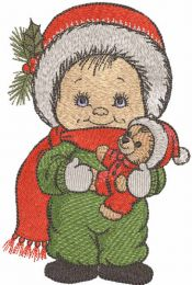 Christmas boy with teddy bear embroidery design
