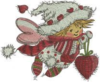 Christmas fairy with red heart