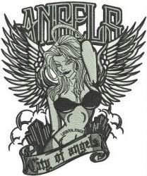City of angels machine embroidery design