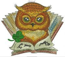 Clever owl reading a book