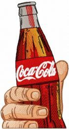 Coca cola bottle in hand embroidery design