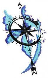 Compass spirit embroidery design