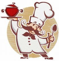 Funny chef with new dish embroidery design