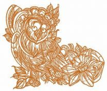 Coquet owl one color embroidery design