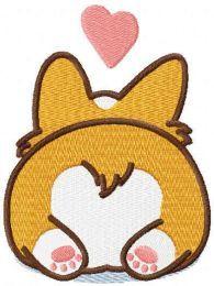 Corgi Heart Pop Socket free embroidery design