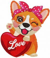 Corgi with red heart embroidery design