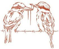 Couple of brown shrikes embroidery design